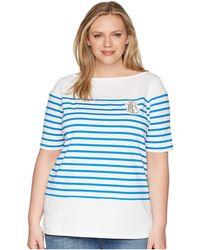 Lauren by Ralph Lauren - Plus Size Lrl Striped Cotton T-shirt - Lyst