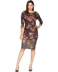 Eci - 3/4 Sleeve Scuba Crepe Floral Printed Menswear Hem Dress - Lyst