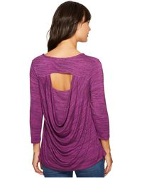 Mod-o-doc - Space Dye Rayon Spandex Jersey Drape-back 3/4 Sleeve Tee - Lyst