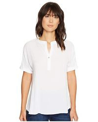 Allen Allen - Tab Collar High-low Henley Top (white) Clothing - Lyst