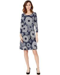ea8e89c6d8 Ann Taylor · Eci - 3 4 Sleeve Puff Print Fit   Flare Jersey Dress - Lyst