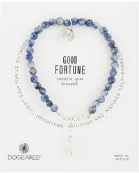 Dogeared - Gem Bracelet, Good Fortune, Fortune Cookie Charm, Sodalite Bead - Lyst