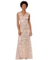 Adrianna Papell - V-neckline All Over Sequin Embroidery Modified Mermaid Gown (rose Gold) Dress - Lyst