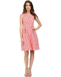 Adrianna Papell - Split Neck Fit And Flare Dress W/ Pleated Skirt - Lyst