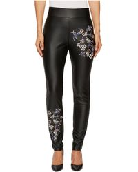 Catherine Malandrino - Full Length Fitted Faux Leather Embroidered Pants - Lyst