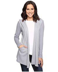 Allen Allen - Long Sleeve Hooded Open Cardigan (pale Grey) Sweater - Lyst