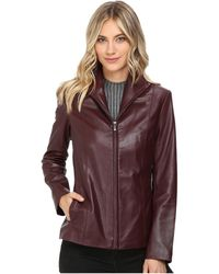 Cole Haan - Zip-Up Leather Jacket - Lyst