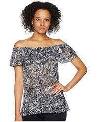 0ca45a861e4 MICHAEL Michael Kors - Swirl Off Shoulder Gather Top (white/black) Clothing  -
