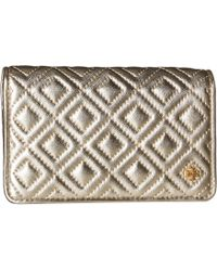 8d7c378dfd0 Lyst - Tory Burch Marsden Leather Mini Wallet in Natural