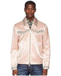 DSquared² - Shiny Cotton Studded Bomber Jacket (pink) Coat - Lyst