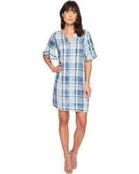 Two By Vince Camuto - Flutter Sleeve Bleach Indigo Plaid Dress - Lyst
