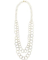 """Kenneth Jay Lane - 2 Row Polished Gold Geometric """"s"""" Hook Necklace - Lyst"""