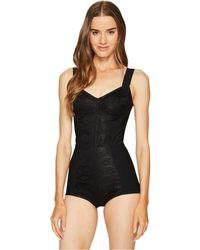Dolce & Gabbana - Black Silk With Lurex Bodysuit Top - Lyst