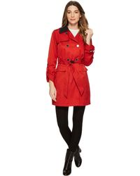 Vince Camuto - Db Belted Trench With Contrast Color And Roll Up Sleeves - Lyst