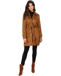 Jessica Simpson - Sueded Rain Trench With Stitching Detail Single Breasted Belted - Lyst