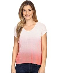 Mod-o-doc   Textured Sweater Knit Dip Dye Boxy V-neck Pullover   Lyst