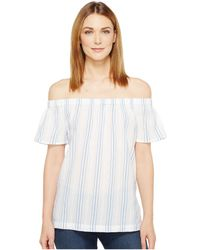 Two By Vince Camuto - Off The Shoulder Stripe Seersucker Side Slit Tunic - Lyst