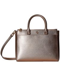 19db7c483515 Tory Burch - Robinson Metallic Small Double Zip Tote - Lyst