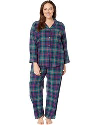 Lauren by Ralph Lauren - Plus Size Brushed Twill Long Sleeve Classic Notch  Collar Pajama Set f88b62807