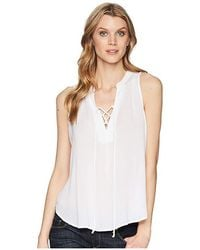 Stetson - 1577 Rayon Crepe Laced Loose Tank Top (white) Clothing - Lyst