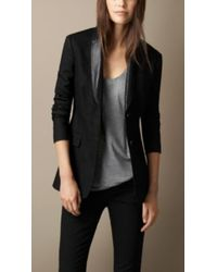 Burberry Leather Lapel Jacket - Lyst