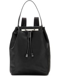 The Row Backpack 11 Leather-trimmed Backpack - Black