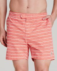 Psycho Bunny Micro Bunny Tab Front Swim Trunks red - Lyst