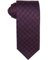 Gucci Navy And Red Gg Silk 'Fendin' Tie - Lyst
