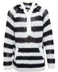 Saint Laurent Hooded Striped Wool & Mohair Jumper - Black