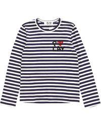 Play Comme Des Garçons Logo Stripe Shirt - Lyst