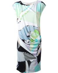 Emilio Pucci Psychedelic Print Gathered Dress - Lyst