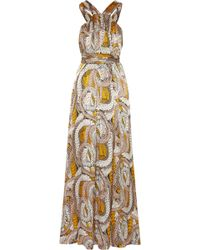 Issa Printed Silk-Satin Maxi Dress - Lyst