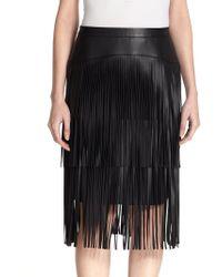 BCBGMAXAZRIA Rashell Faux-Leather Fringe Pencil Skirt - Lyst