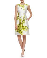Lela Rose Floral-Print Taffeta Sheath Dress - Lyst