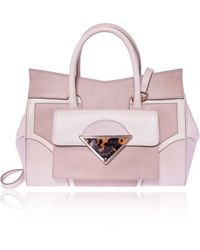 Sara Battaglia Brown and White Medium Linda Bag - Lyst