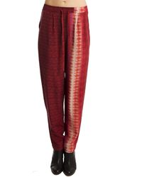 Charlotte Ronson Printed Drawstring Pants red - Lyst