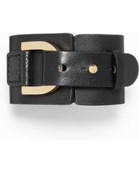 Ann Taylor Iconic Wide Leather Wrap Bracelet - Lyst