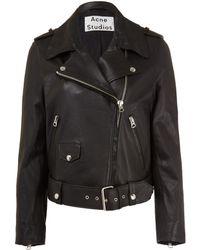 Acne Studios Black Mape Leather Belted Biker Jacket - Lyst