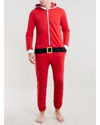 Topman Red Christmas Santa Onesie - Lyst