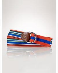 Polo Ralph Lauren Reversible Striped Ribbon Belt - Lyst