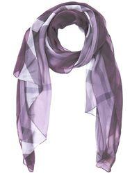 Burberry - Pale Mauve Nova Check Print Silk Chiffon Scarf - Lyst