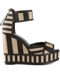Pierre Hardy Striped Wedge Sandals - Lyst