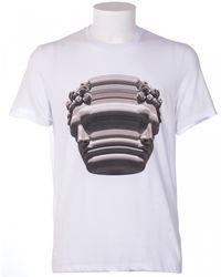 Neil Barrett White Cotton T-Shirt With Print - Lyst