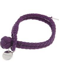 Bottega Veneta Intrecciato Nappa-Leather Bracelet - For Women purple - Lyst