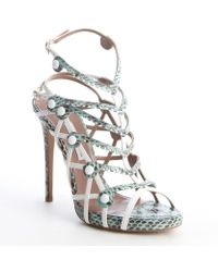 Tabitha Simmons Green And White Snake Embossed Strappy Leather Heel Sandals - Lyst