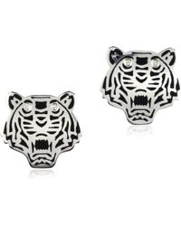 KENZO - Black Lacquer Sterling Silver Mini Tiger Earrings - Lyst