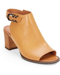 Kenneth Cole Ankle Strap Open Toe Leather Mules Tan - Lyst