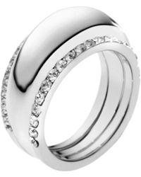 Michael Kors Pavéembellished Silvertone Insert Ring - Lyst