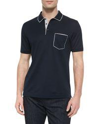 Ferragamo Tipped Pocket Polo blue - Lyst