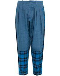 Yohji Yamamoto Regulation - Tartan-panel Linen Pants - Lyst